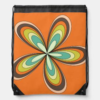 70's retro spring hippie flower power drawstring bag