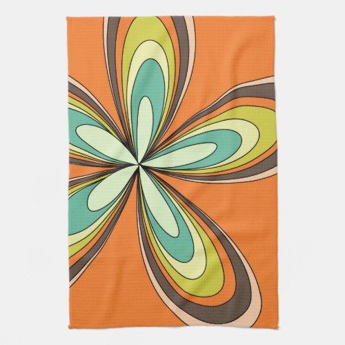 70s retro spring hippie flower power kitchen towel
