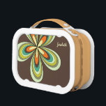 """70&#39;s retro spring hippie flower power lunch box<br><div class=""""desc"""">Cute colorful flower shape,  vintage style in orange,  turquoise,  brown,  lime green. Modern,  trendy with retro feel. Unique,  elegant and stylish gift for every woman.</div>"""