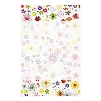 70's retro spring hippie flowers stationery