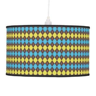 70s Scottish Tartan-Pattern Ceiling Lamp