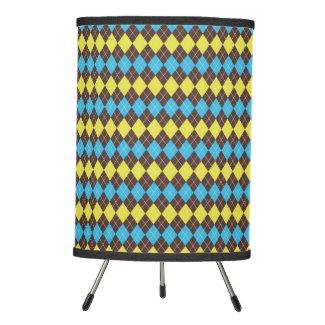 70s Scottish Tartan-Pattern Tripod Lamp