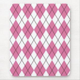 70s Tartan Pattern Pinky Mouse Pad