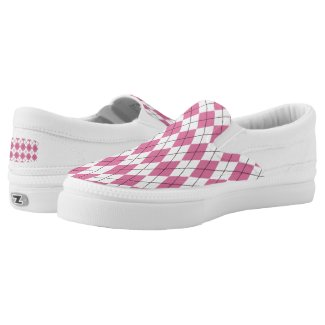 70s Tartan-Pattern Pinky Slip-On Sneakers