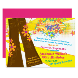 70s Theme Groovy Bell Bottoms 50th Birthday Party Invitation