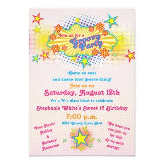 70s Theme Groovy Disco Sweet 16 Birthday Party Custom Invite
