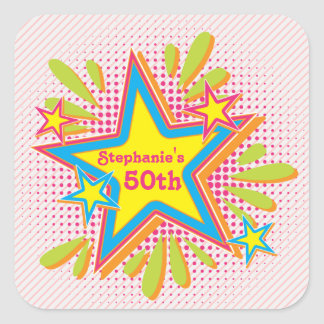 70s Theme Groovy Flower Power 50th Birthday Party Square Sticker