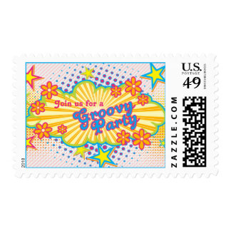 70s Theme Groovy Flower Power Birthday Party Postage