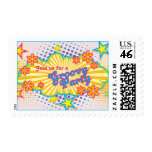 70s Theme Groovy Flower Power Birthday Party Stamp