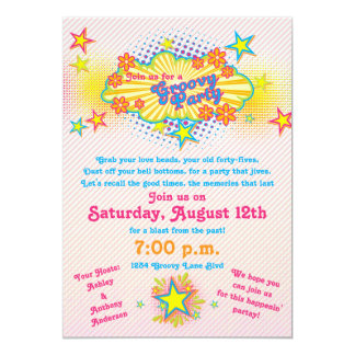 "70s Theme Groovy Flower Power Party Invitation 5"" X 7"" Invitation Card"