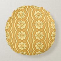 70s yellow pattern Round Round Pillow