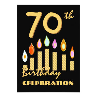 70th - 79th Birthday Party Invitation Gold Candles