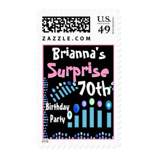 70th - 79th SURPRISE Birthday with Blue Candles Stamps