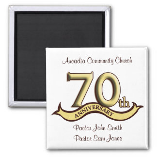 70th Anniversary Party Favors 2 Inch Square Magnet