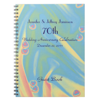 70th Anniversary Party Guest Book Small Hearts Note Books