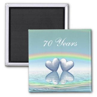 70th Anniversary Platinum Hearts 2 Inch Square Magnet