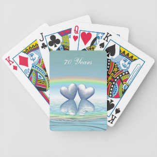 70th Anniversary Platinum Hearts Bicycle Playing Cards