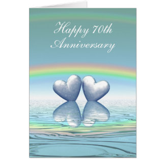 70th Anniversary Platinum Hearts Greeting Cards