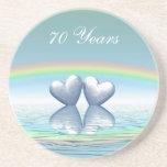 70th Anniversary Platinum Hearts Drink Coaster