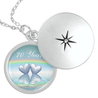 70th Anniversary Platinum Hearts Locket Necklace