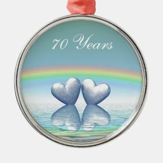 70th Anniversary Platinum Hearts Metal Ornament