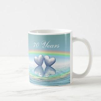 70th Anniversary Platinum Hearts Classic White Coffee Mug