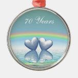70th Anniversary Platinum Hearts Christmas Ornaments