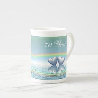 70th Anniversary Platinum Hearts Tea Cup