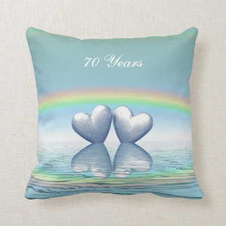 70th Anniversary Platinum Hearts Throw Pillow
