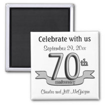 70th Anniversary Save The Date Party Favors Magnet