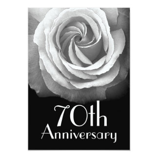 70th Anniversary Silver White Rose Card
