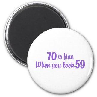 70th Birthday 2 Inch Round Magnet