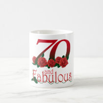 70th birthday 70 and fabulous red roses floral mug