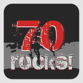70th Birthday - 70 Rocks! Grunge Red and Black Square Sticker