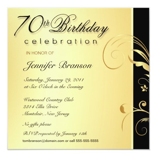 70th Birthday Adult - Elegant Gold Floral Invites