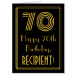 "[ Thumbnail: 70th Birthday: Art Deco Inspired Look ""70"" + Name Card ]"