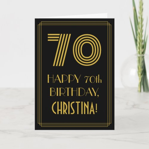 70th Birthday Art Deco Inspired Look 70  Name Card