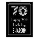 "[ Thumbnail: 70th Birthday — Art Deco Inspired Look ""70"" + Name Card ]"