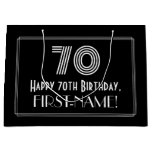 "[ Thumbnail: 70th Birthday — Art Deco Inspired Look ""70"" & Name Gift Bag ]"