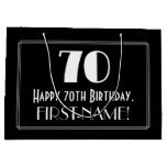 "[ Thumbnail: 70th Birthday: Art Deco Inspired Style ""70"", Name Gift Bag ]"
