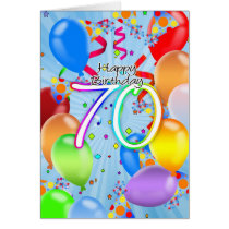 70th Birthday - Balloon Birthday Card - Happy Birt