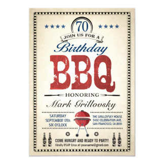 70th Birthday BBQ Invitations