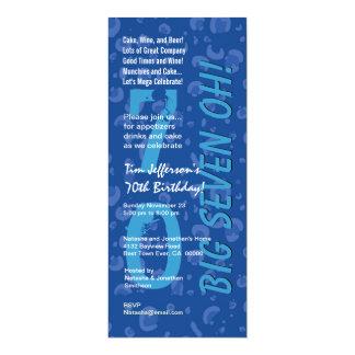 70th Birthday Big Six Oh Blue Confetti W364 Custom Invitations