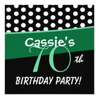 70th Birthday Black White Green Polka Dots D413 Card