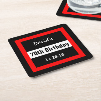 70th Birthday Black with Red Frame Custom A10A Square Paper Coaster