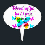 """70TH BIRTHDAY BLESSING CAKE TOPPER<br><div class=""""desc"""">Blessed by God for 70 years. This spiritual and faith filled 70 year old will celebrate turning 70 with this beautiful rainbow butterfly 70th birthday design on Tees and Gifts. Delight your Christian 70 year old with a unique and one of a kind 70th customized birthday gift that she will...</div>"""