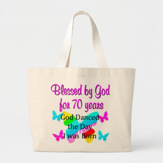 70TH BIRTHDAY BLESSING LARGE TOTE BAG