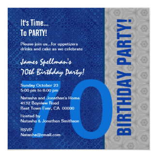 70th Birthday Blue and Silver Pattern Recycled Card