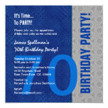 70th Birthday Blue and Silver Pattern Recycled 5.25x5.25 Square Paper Invitation Card
