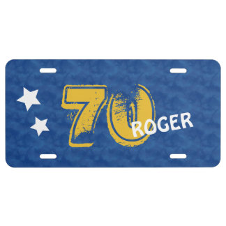 70th Birthday Blue Gold For Him Grunge Text A01G License Plate